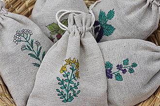 Úžitkový textil - Ručne maľované ľanové vrecká ako od babičky pre Vaše bylinky - 13422712_