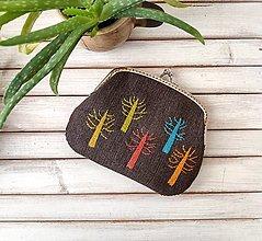 Peňaženky - Peňaženka XL Farebné stromy tmavá (s kapsičkami)  - 13419893_