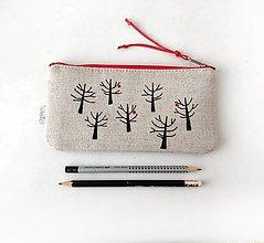 Taštičky - Maľovaný peračník Stromy (s koženkou) - 13420012_