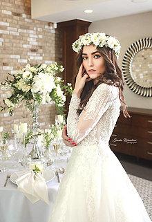 Ozdoby do vlasov - Veľký biely svadobný venček - 13423606_