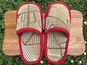 Ponožky, pančuchy, obuv - Béžové poťahovkové papuče so vzorom - 13424519_