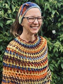 Iné oblečenie - SET Čelenka - pre Alenku a Pončo - Farebné kvety, vhodné aj pre dámy so špeciálnymi potrebami ♿️ - 13426155_