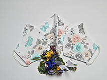 Rúška - Tvarované dvojvrstvové rúško - Kytica kvetov (cca 11 cm) - 13424446_