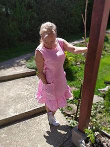 Šaty - Ružové ľanové šaty - 13425889_