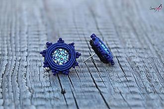Náušnice - šujtášové náušnice napichovacie kvietky (modré) - 13429464_