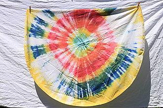 Úžitkový textil - Hippies batikovaný bavlnený pestrofarebný obrus okrúhly priemer 150 cm - 13427904_