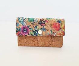 Peňaženky - Dámska korková peňaženka kvety - 13429500_
