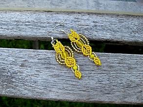 Náušnice - Macramé žlté náušnice č. 3386 - 13428989_