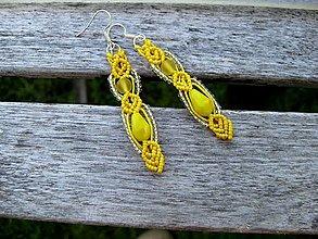 Náušnice - Macramé žlté náušnice č. 3397 - 13428993_