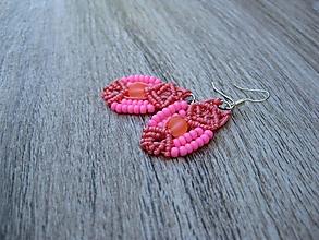Náušnice - Macramé náušnice (ružové č. 3401) - 13429004_