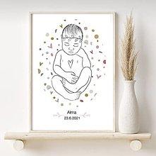 Grafika - Grafika - baby print - novorodenecký newborn plagát -personalizovaný - 13429154_