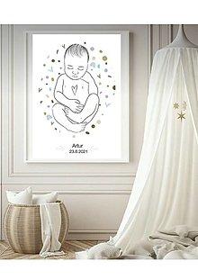 Grafika - Grafika - baby print - novorodenecký newborn plagát -personalizovaný - 13429162_