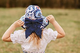 Detské čiapky - Letný  klobúk modré kvety - 13426987_