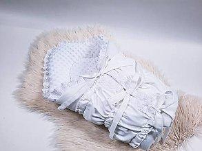 Textil - Zavinovačka s troma úväzmi biela + biela minky - 13431228_