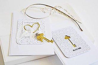 Papiernictvo - Svadobný pozdrav - zlatý kľúčik - 13430704_