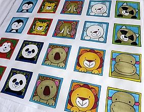 Textil - Bavlnený panel UŠI SI SÁM - Textilné pexeso (Zvieratká z exotiky) - 13433072_