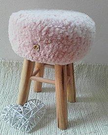 Nábytok - Taburet HYGGE kožušinka pudrova ružová - 13430395_