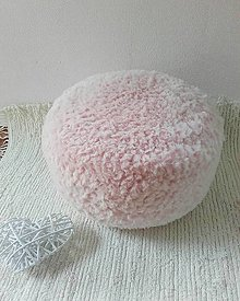 Úžitkový textil - POUDRE pink - háčkovaný PUF - 13430417_
