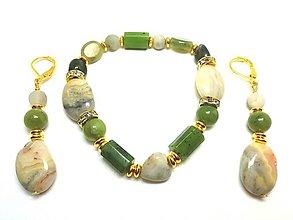 Sady šperkov - Súprava šperkov zeleno-sivá - 13430147_