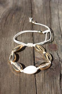 Náramky - Letný makramé náramok zlatý na nohu i ruku - 13430460_