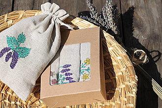 Úžitkový textil - Darčekové balenie 3 ľanových vrecúšok na bylinky - 13430483_