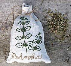 """Úžitkový textil - ľanové vrecko na bylinky """"Medovka"""" - 13430208_"""