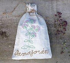 """Úžitkový textil - ľanové vrecko na bylinky """"Pamajorán"""" - 13430211_"""