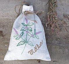 """Úžitkový textil - ľanové vrecko na bylinky """"Mäta"""" - 13430215_"""