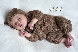 Detské oblečenie - Newborn hnedý medvedíkovský outfit - 13430629_