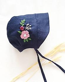 Detské čiapky - Ľanový čepček - NAVY FLOWER - 13430133_