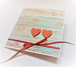 Papiernictvo - Pohľadnica ... dve srdcia - 13435721_