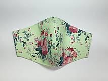 Rúška - Rúško dizajnové,kvety na mentolovej - 13436037_