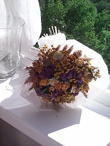 Dekorácie - Prírodná kytica zo sušených kvietkov ... žltá ... - 13433545_