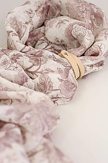 """Šatky - Ľanová jemná šatka / pléd s kvetinovým vzorom """"Julie"""" - 13434160_"""