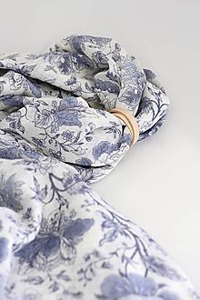"""Šatky - Pôvabná dámska šatka zo 100% ľanu s kvetinami """"Bluerosie"""" - 13434228_"""
