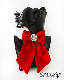 Odznaky/Brošne - Dámsky motýlik - luxusný - červený - brošňa - 13435375_