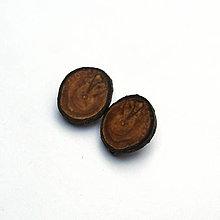 Náušnice - Drevené naušnice klipsňové - jabloňové rezy - 13435886_