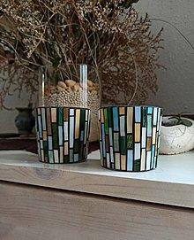 Svietidlá a sviečky - Mozaikový svietnik farby lesa... na sviečku - 13438453_