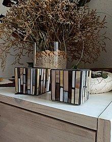 Svietidlá a sviečky - Mozaikový svietnik farby prírody... na sviečku - 13438505_