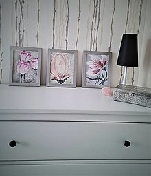 Obrazy - Ružové kvety - triptych obrazov - 13437923_