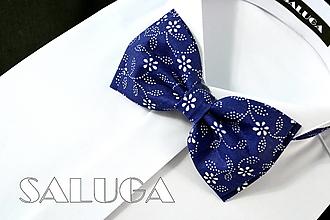 Doplnky - Pánsky modrý motýlik - vzorovaný - modrotlač - 13437706_