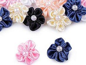 Galantéria - Saténový kvet 20mm s perlou - 13436998_