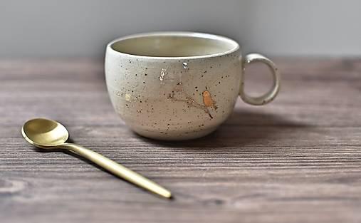 Nádoby - Keramický hrnček z kameniny 200ml so zlatým vtáčikom - 13436299_