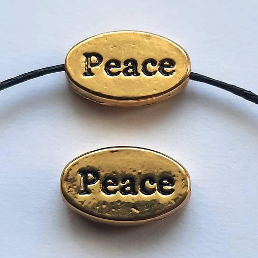 Kovová korálka PEACE 13x8mm-1ks