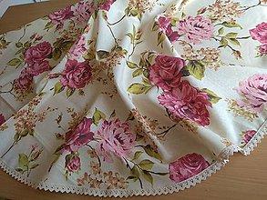 Úžitkový textil - Obrus okrúhly pivonka - 13441794_