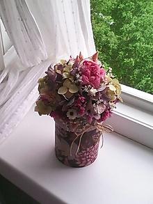 Dekorácie - Kvetinová krabička prírodná ...s pivonkami ... - 13439488_