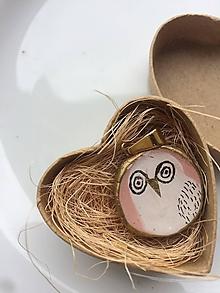 Náhrdelníky - Prívesok Sova N•2 ♥ (Hlinený prívesok, resp. náhrdelník - pozlátená retiazka - 13439653_