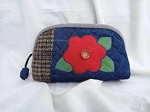 Taštičky - Taštička riflová s kvetom - 13438919_