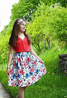 Sukne - Sukňa s regulovateľným páscom + čelenka - 13441643_