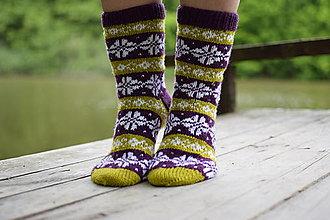 Obuv - zeleno fialové ponožky s nórskym vzorom ( v.38-39) - 13441533_